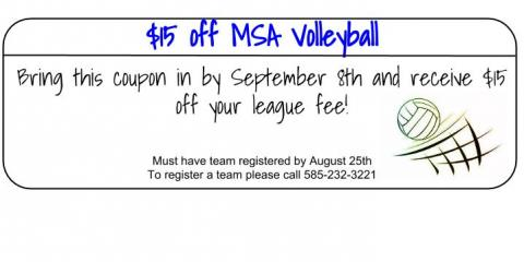 $15 off MSA Volleyball League Fee, Rochester, New York