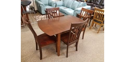 DROP LEAF DINING TABLE AND 4 CHAIRS - $300, ,