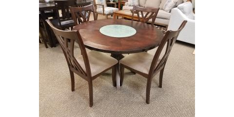 Round Dining Table with Glass Insert and 4 Chairs - $400, ,