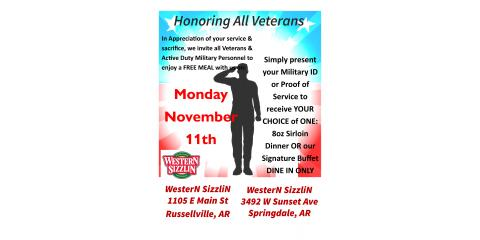 VETERAN'S APPRECIATION DAY MONDAY NOV 11TH, Russellville, Arkansas