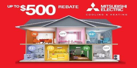 Up To $500 Rebate on a New Mitsubishi® Electric System, Wakefield, Massachusetts