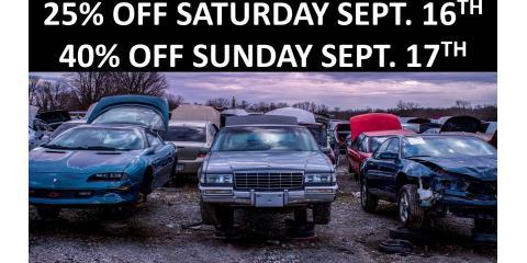 WEEKEND SALE SATURDAY 9/16 25%OFF SUNDAY 9/1740%OFF., Hebron, Kentucky