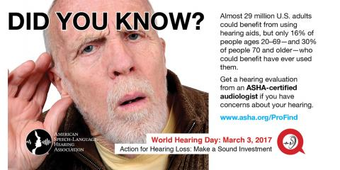 March 3, 2017 is World Hearing Day, Forest Glen, Maryland