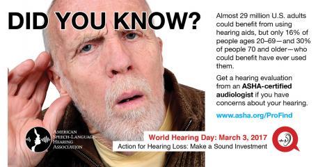March 3, 2017 is World Hearing Day, 21, Berwyn, Maryland