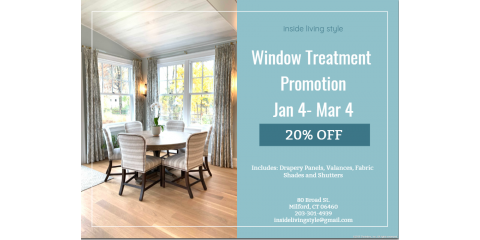 20% OFF Window Treatment, Milford, Connecticut