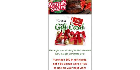 Starting BLACK FRIDAY!! BUY $50  in Gift Cards Get $5 Bonus, Russellville, Arkansas