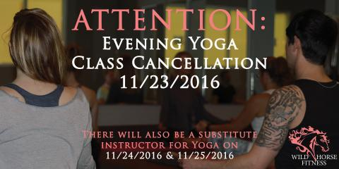 Evening Yoga Class November 23 is Cancelled, Ballwin, Missouri