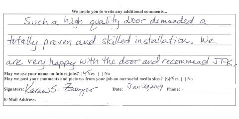 Positive Review for JFK Window and Door from Montgomery, Forest Park, Ohio